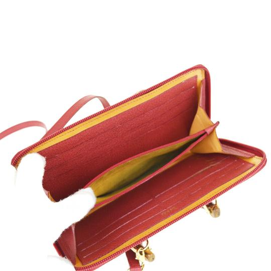 Gucci GUCCI Bamboo Long Zipper Wallet Shoulder Hand Bag Suede Leather Red Image 9