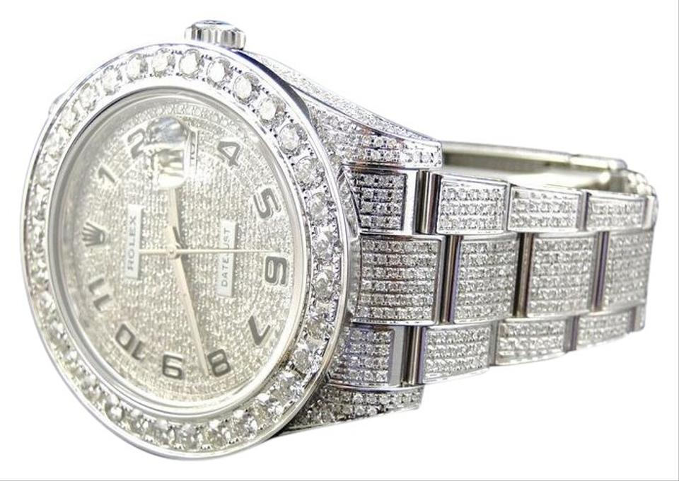 8365cd769a1c7 Rolex White Gold Iced Out Mens New Just Il 2 Flooded Genuine Diamond Watch  33% off retail