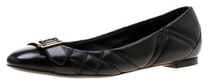 Burberry Leather Detail Ballet Black Flats