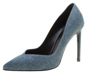 Saint Laurent Denim Pointed Toe Leather Blue Pumps