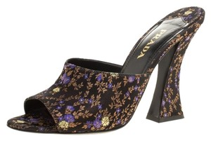 Prada Silk Mule Floral Leather Black Sandals
