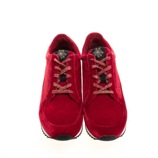 Charlotte Olympia Velvet Leather Red Flats Image 1