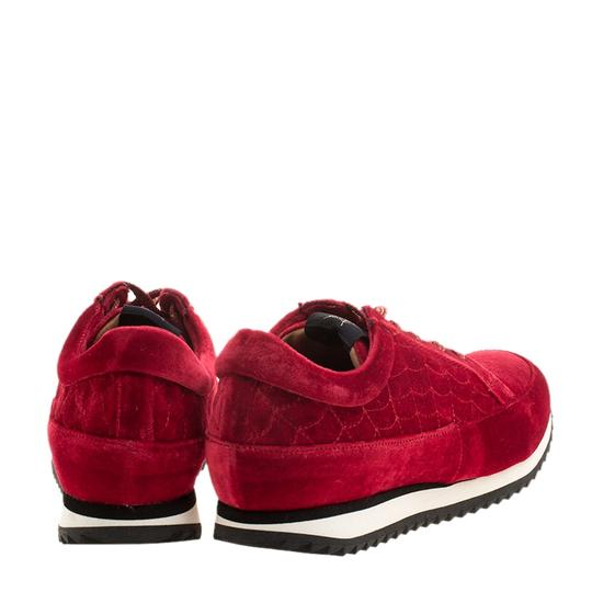 Charlotte Olympia Velvet Leather Red Flats Image 2