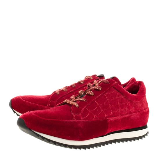 Charlotte Olympia Velvet Leather Red Flats Image 3
