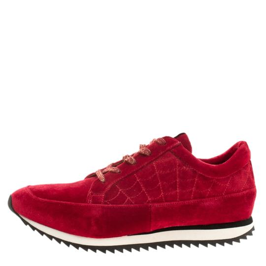 Charlotte Olympia Velvet Leather Red Flats Image 4