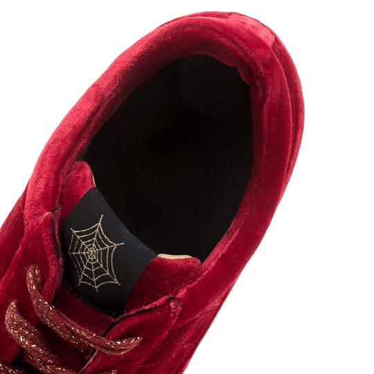 Charlotte Olympia Velvet Leather Red Flats Image 6