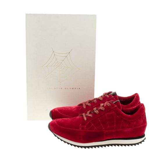 Charlotte Olympia Velvet Leather Red Flats Image 7