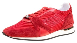 Burberry Mesh Suede Rubber Leather Red Flats