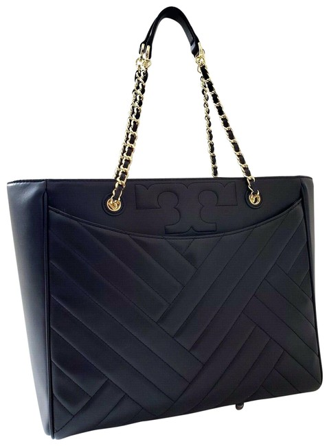 Tory Burch New Logo Gold Chain Strap Quilted Large Work Laptoptote Black Lambskin Leather Shoulder Bag Tory Burch New Logo Gold Chain Strap Quilted Large Work Laptoptote Black Lambskin Leather Shoulder Bag Image 1