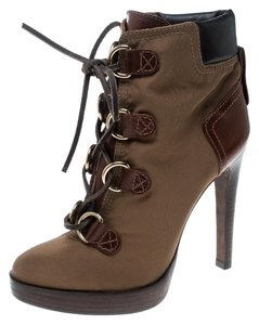 Tory Burch Nylon Khaki Leather Lace Brown Boots