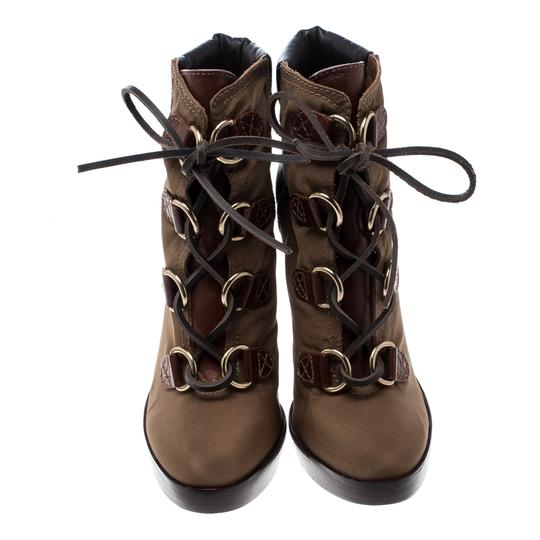 Tory Burch Nylon Khaki Leather Lace Brown Boots Image 1
