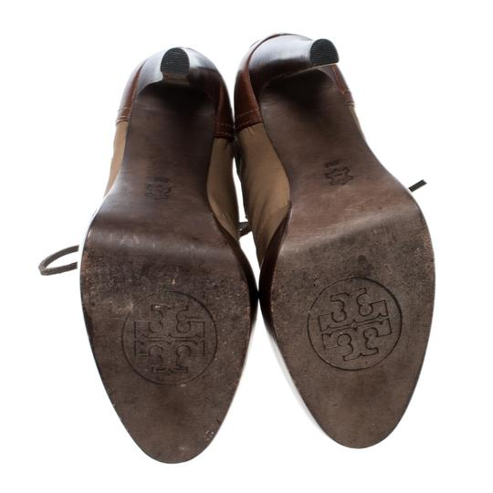 Tory Burch Nylon Khaki Leather Lace Brown Boots Image 3