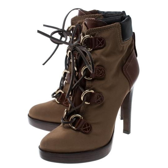 Tory Burch Nylon Khaki Leather Lace Brown Boots Image 4