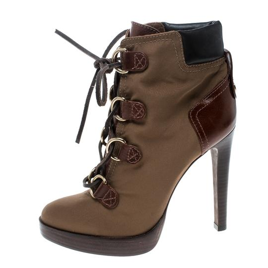 Tory Burch Nylon Khaki Leather Lace Brown Boots Image 5