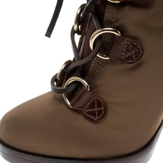 Tory Burch Nylon Khaki Leather Lace Brown Boots Image 6