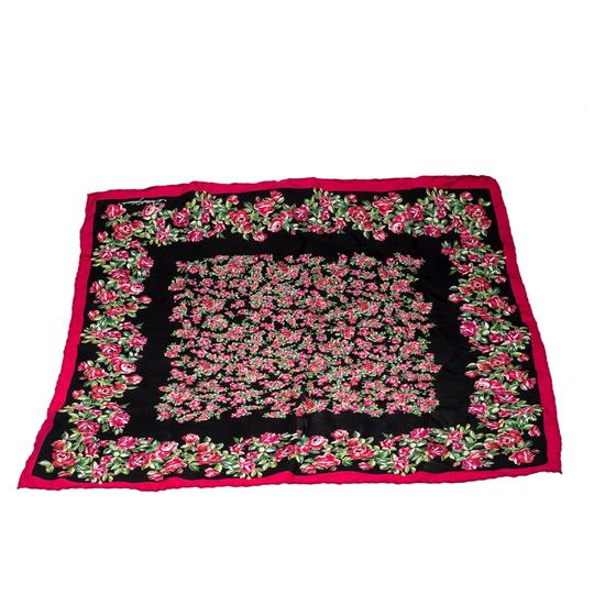 Dolce&Gabbana Dolce and Gabbana Black and Pink Rose Printed Silk Square Scarf Image 3