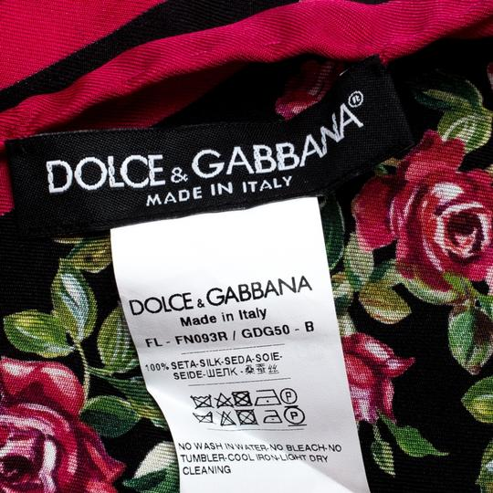 Dolce&Gabbana Dolce and Gabbana Black and Pink Rose Printed Silk Square Scarf Image 5