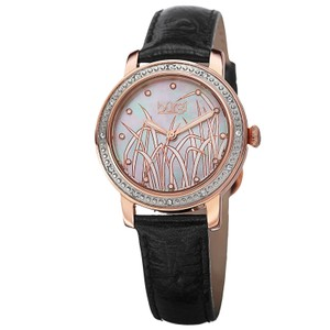 Burgi Rose Gold Tone Stainless Steel Black Leather Quartz Ladies Watch - item med img