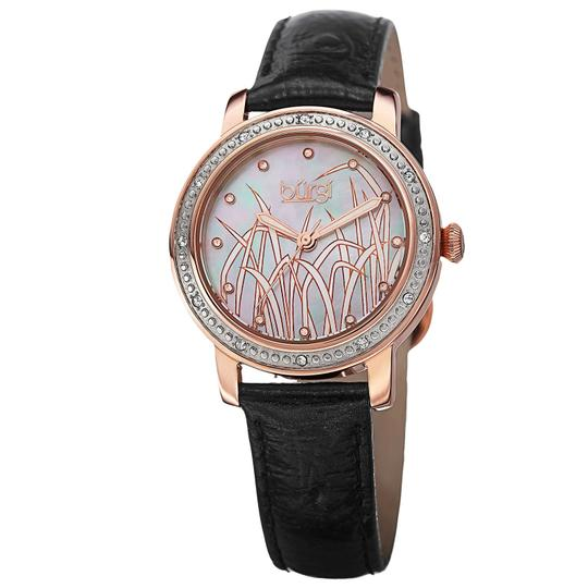 Preload https://img-static.tradesy.com/item/25892704/burgi-patterned-mother-of-pearl-rose-gold-tone-stainless-steel-black-leather-quartz-ladies-watch-0-0-540-540.jpg