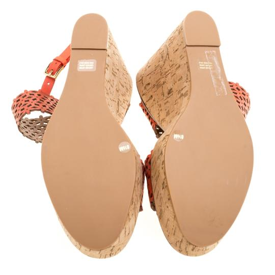 Tory Burch Perforated Leather Wedge Rubber Red Sandals Image 3