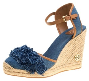 Tory Burch Denim Espadrille Wedge Leather Blue Sandals