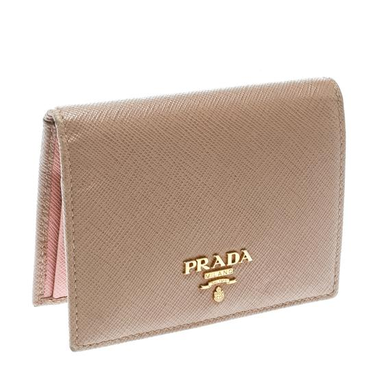 Prada Light Brown Saffiano Lux Leather Bifold Wallet Image 4