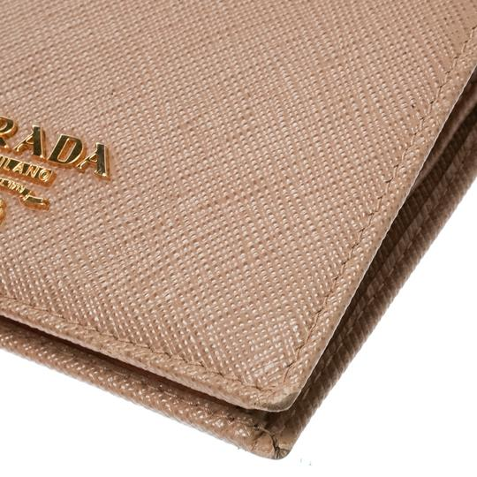 Prada Light Brown Saffiano Lux Leather Bifold Wallet Image 5