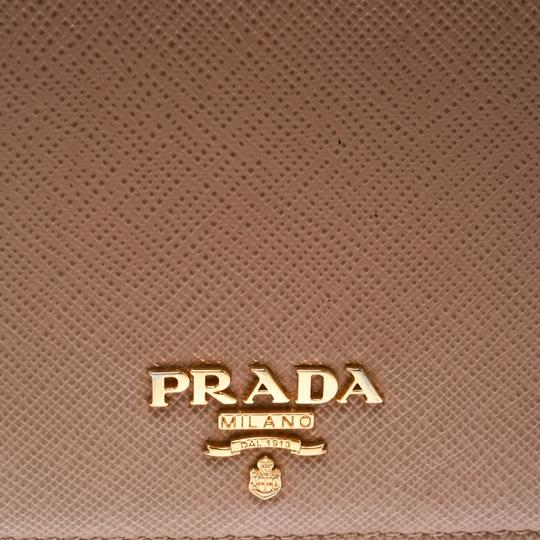 Prada Light Brown Saffiano Lux Leather Bifold Wallet Image 7