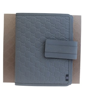 Gucci GUCCI Logos Sherry GG Pattern ipad Tablet Case Gray Leather Italy