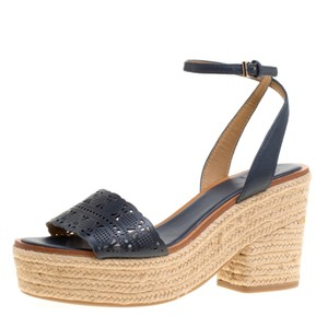 Tory Burch Leather Rubber Espadrille Blue Sandals