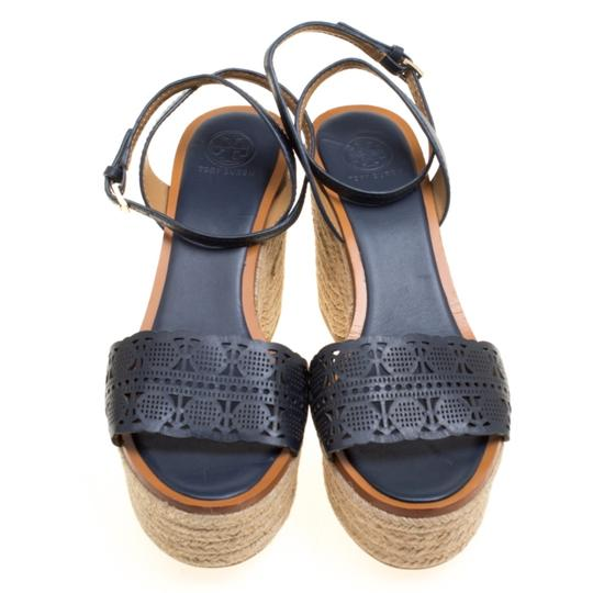 Tory Burch Leather Rubber Espadrille Blue Sandals Image 1