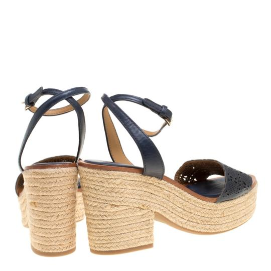 Tory Burch Leather Rubber Espadrille Blue Sandals Image 2