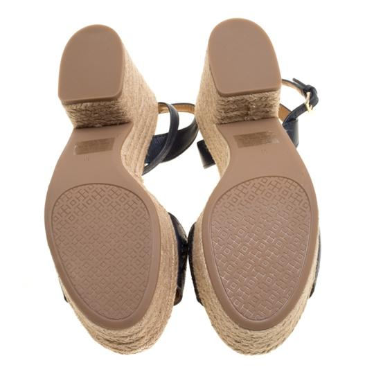 Tory Burch Leather Rubber Espadrille Blue Sandals Image 3