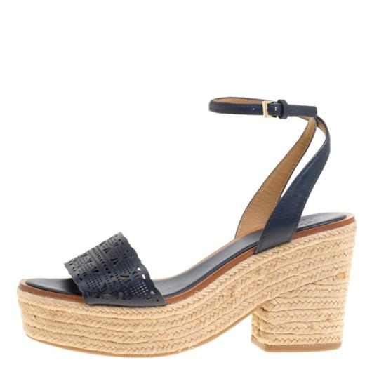 Tory Burch Leather Rubber Espadrille Blue Sandals Image 4