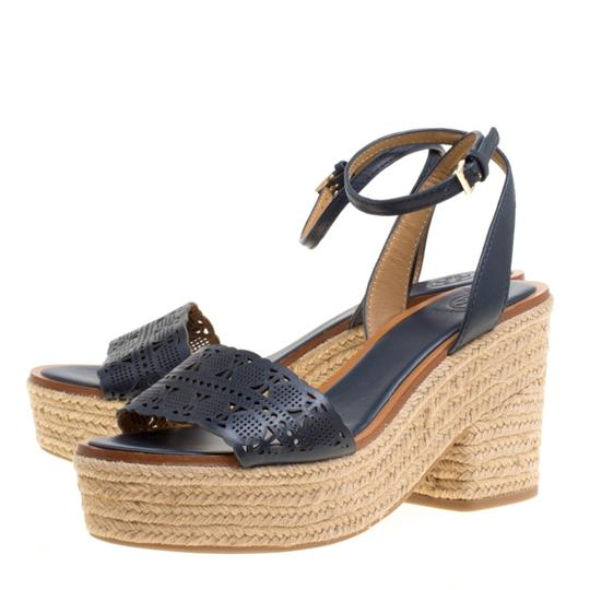 Tory Burch Leather Rubber Espadrille Blue Sandals Image 5