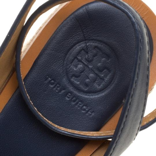 Tory Burch Leather Rubber Espadrille Blue Sandals Image 6