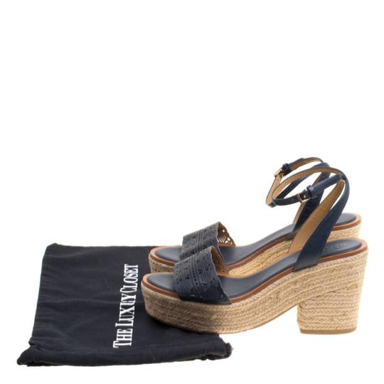 Tory Burch Leather Rubber Espadrille Blue Sandals Image 7