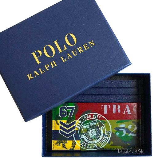 Polo Ralph Lauren Navy/Red Multi Limited Edition Print Leather Card Case Men's Jewelry/Accessory Image 4