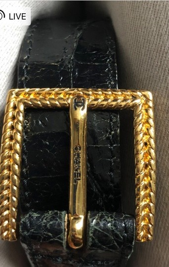 Chanel Chanel crocodile black square gold buckle Image 3