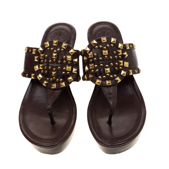 Tory Burch Leather Wedge Brown Sandals Image 1