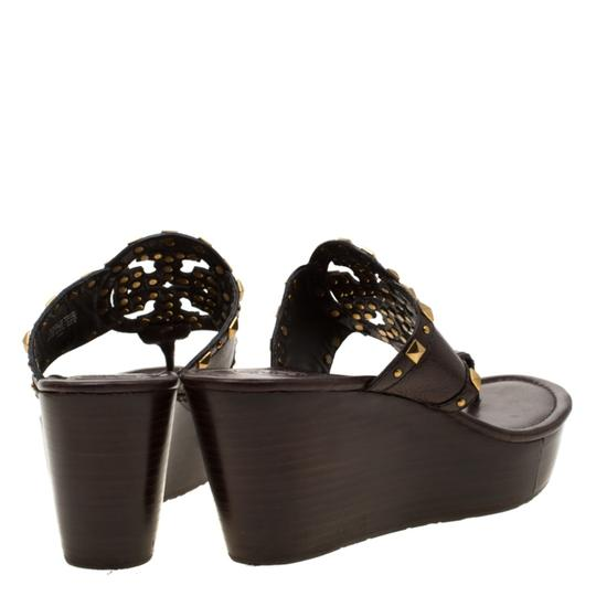 Tory Burch Leather Wedge Brown Sandals Image 2