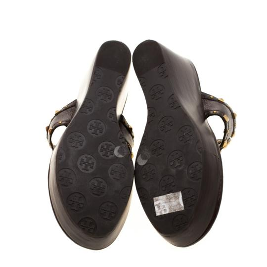 Tory Burch Leather Wedge Brown Sandals Image 3