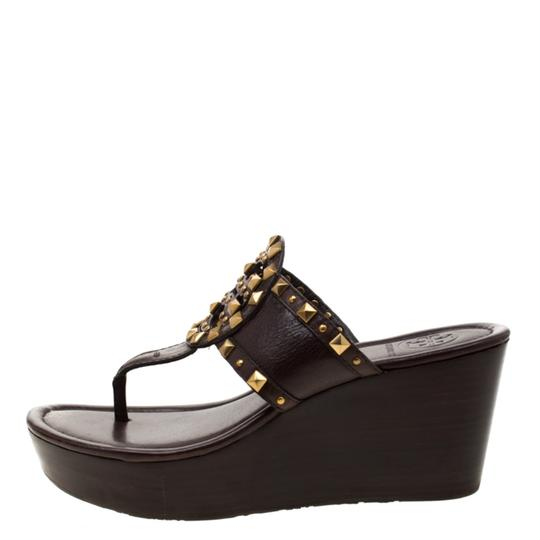 Tory Burch Leather Wedge Brown Sandals Image 4