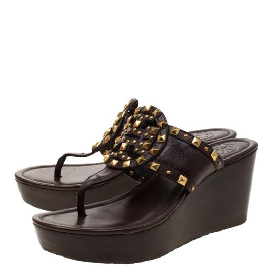 Tory Burch Leather Wedge Brown Sandals Image 5