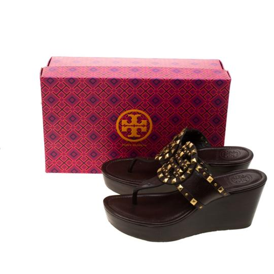 Tory Burch Leather Wedge Brown Sandals Image 7