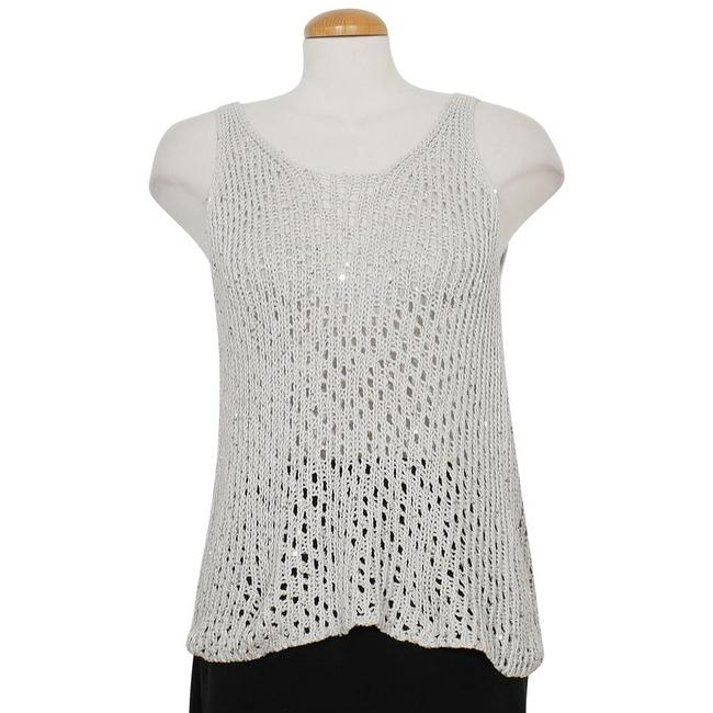 Item - Silver Gray Sequin Chainmail Mesh Cotton Ps Tank Top/Cami Size Petite 6 (S)