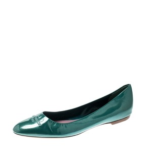Louis Vuitton Leather Patent Leather Green Flats