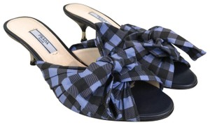 Prada Gingham Plaid Size 36 Blue Mules