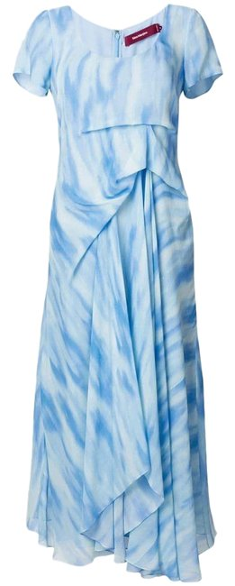Item - Blue White Print Gathered Lined Silk Long Night Out Dress Size 6 (S)