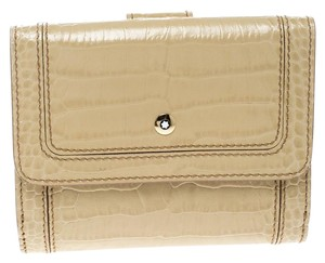 Montblanc Beige Croc Embossed Leather French Wallet